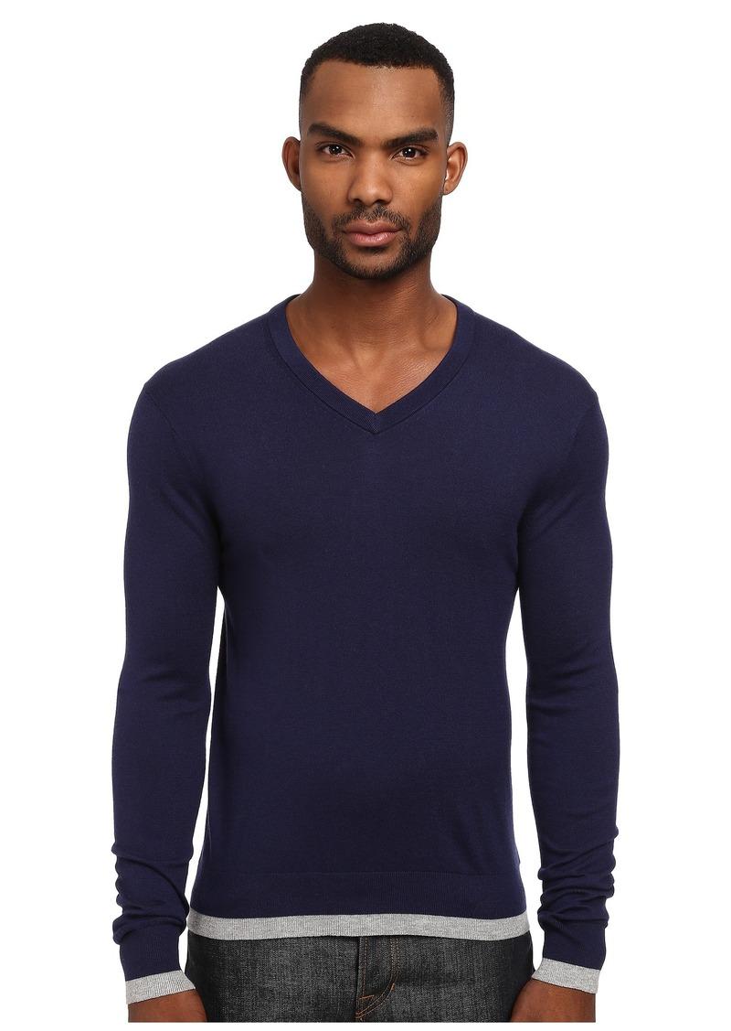Michael Kors Tipped V-Neck Sweater