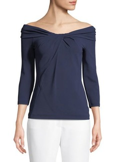 Michael Kors Collection Twist-Neck 3/4-Sleeve Off-Shoulder Jersey Blouse