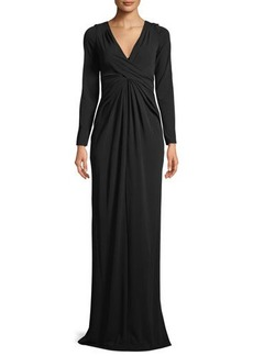 Michael Kors Collection V-Neck Long-Sleeve Twist-Front Column Evening Gown