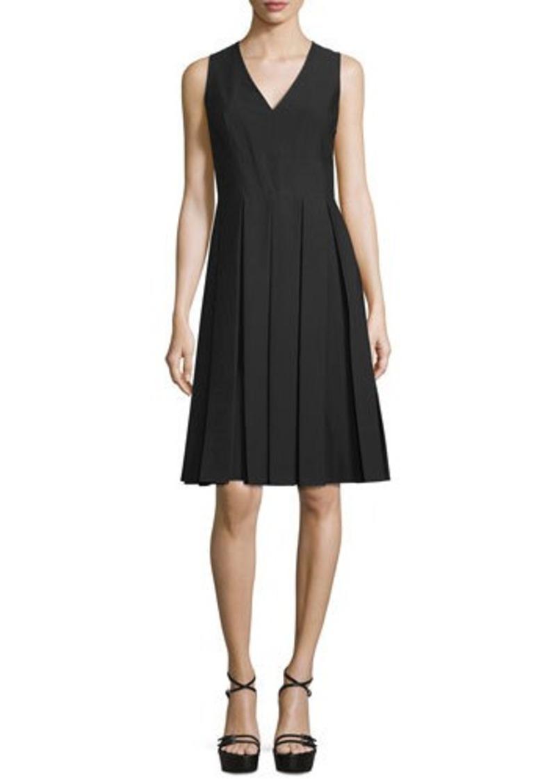 Michael Kors V-Neck Pleated Poplin Dress