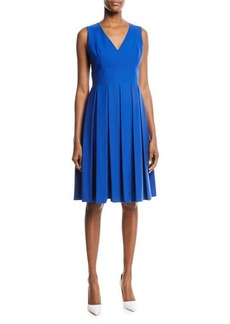 Michael Kors Collection V-Neck Pleated Poplin Dress