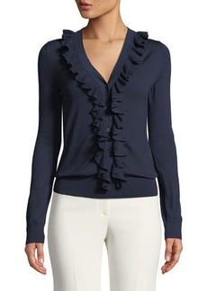Michael Kors Collection V-Neck Ruffle-Trimmed Sweater