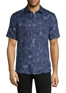 Michael Kors Water Palm Print Linen Button-Down Shirt