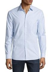 Michael Kors Watson Diamond-Print Mouline Long-Sleeve Sport Shirt