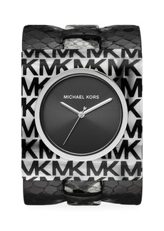 Michael Kors Willa Logo Acetate & Python-Embossed Leather Strap Watch