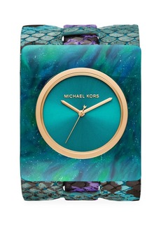 Michael Kors Willa Marbled Acetate & Python-Embossed Leather Strap Watch