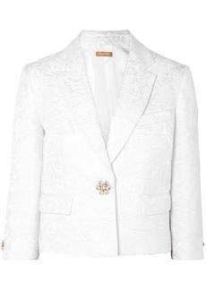 Michael Kors Woman Cropped Button-embellished Cotton-blend Matelassé Blazer White