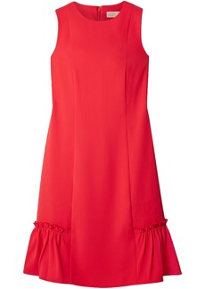 Michael Kors Woman Fluted Ruffle-trimmed Crepe Mini Dress Tomato Red