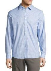 Michael Kors Woven Button-Front Square-Print Shirt