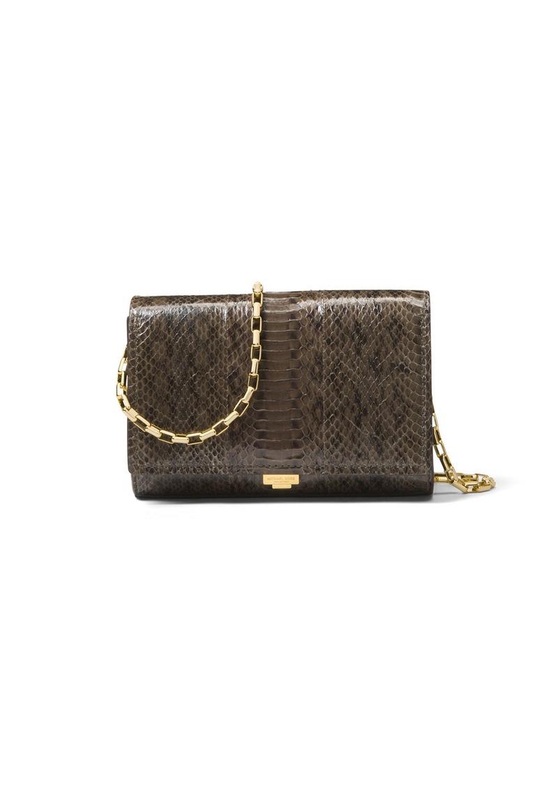 5817a18cb64b Michael Kors Michael Kors Yasmeen Small Snakeskin Clutch Bag | Handbags
