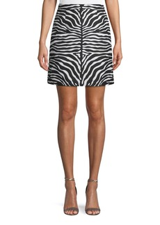 Michael Kors Zebra-Jacquard A-Line Wool Mini Skirt