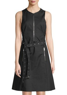 Michael Kors Collection Zip-Front Belted A-Line Dress