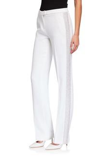 Michael Kors Mid-Rise Straight-Leg Crepe Sable Trousers w/ Crystal Tux Stripe