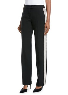 Michael Kors Mid-Rise Straight-Leg Crepe Sable Trousers w/ Crystal Tux Stripe