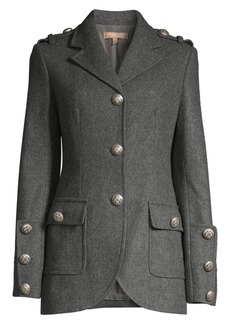 Michael Kors Military Stretch Wool Button Jacket