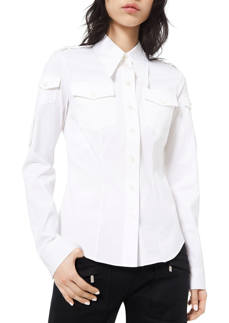 Michael Kors Military-Style Poplin Shirt