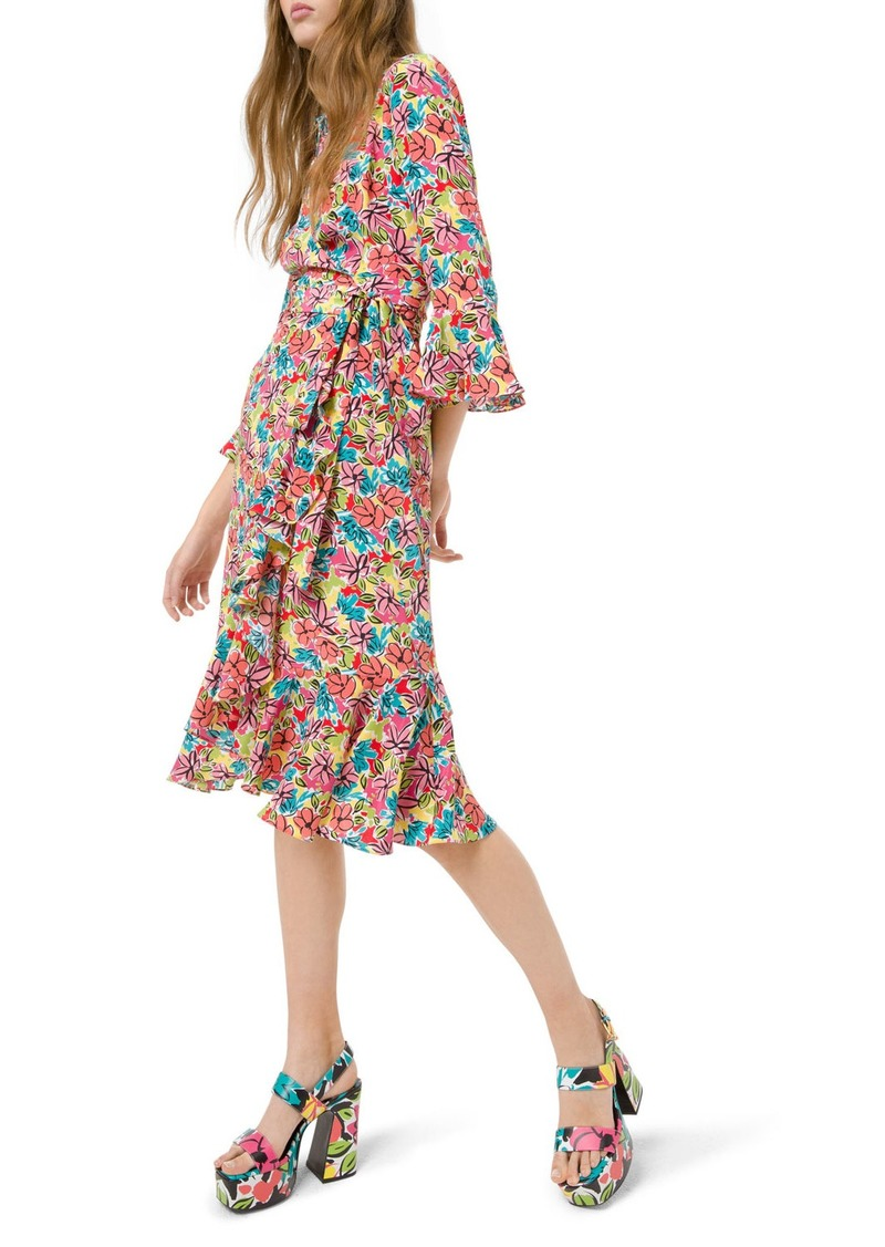 Michael Kors Modern Floral Crepe de Chine Dress
