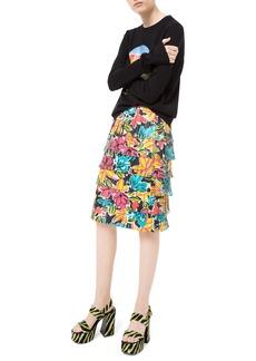 Michael Kors Modern Floral Fringe Leather Skirt