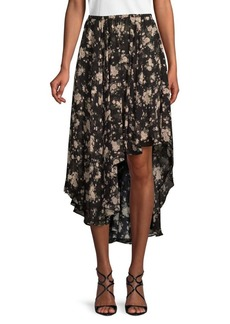 Michael Kors Moody Floral-Print Silk Skirt