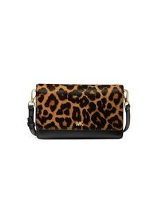 MICHAEL Michael Kors Mott Leopard-Print Calf Hair & Leather Phone Crossbody