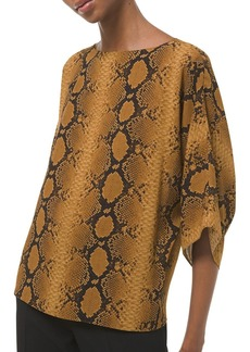 Michael Kors Nikki Snakeskin-Print Silk Top