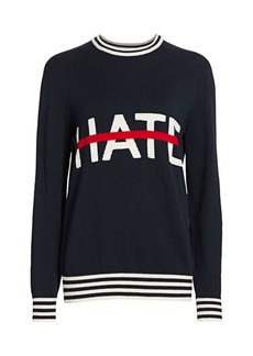 Michael Kors No Hate Intarsia Cashmere Crewneck Sweater