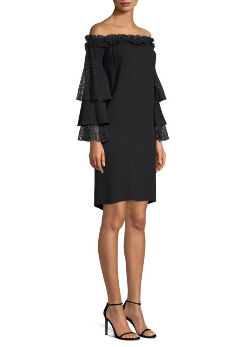 Michael Kors Off-The-Shoulder Lace Ruffle Sleeve Dress