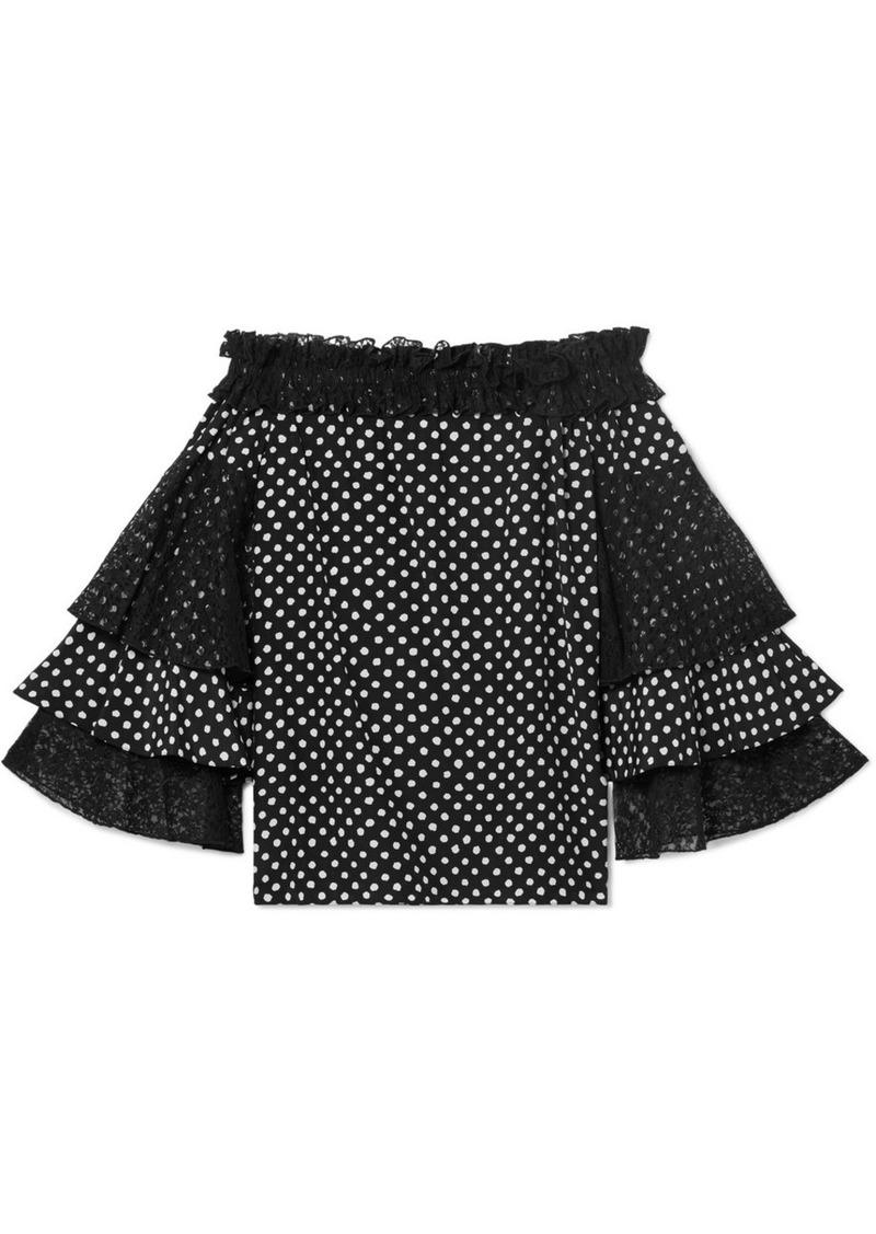 Michael Kors Off-the-shoulder Lace-trimmed Polka-dot Silk Crepe De Chine Top