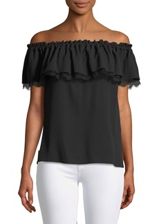 Michael Kors Off-The-Shoulder Short-Sleeve Silk Blouse