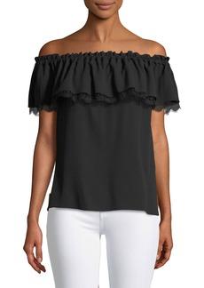 Michael Kors Off-The-Shoulder Short-Sleeve Silk Blouse