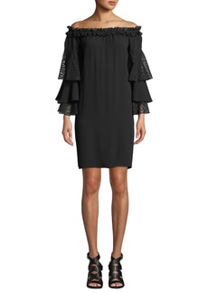 Michael Kors Off-the-Shoulder Silk Shift Dress with Ruffled Lace Sleeves