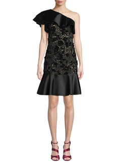 Michael Kors One-Shoulder Duchess Ruffle Floral-Lace Cocktail Dress