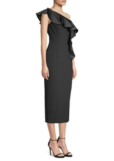 Michael Kors One Shoulder Ruffle Sheath Dress
