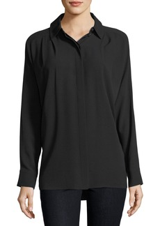 Michael Kors Oversized Button-Down Silk Blouse