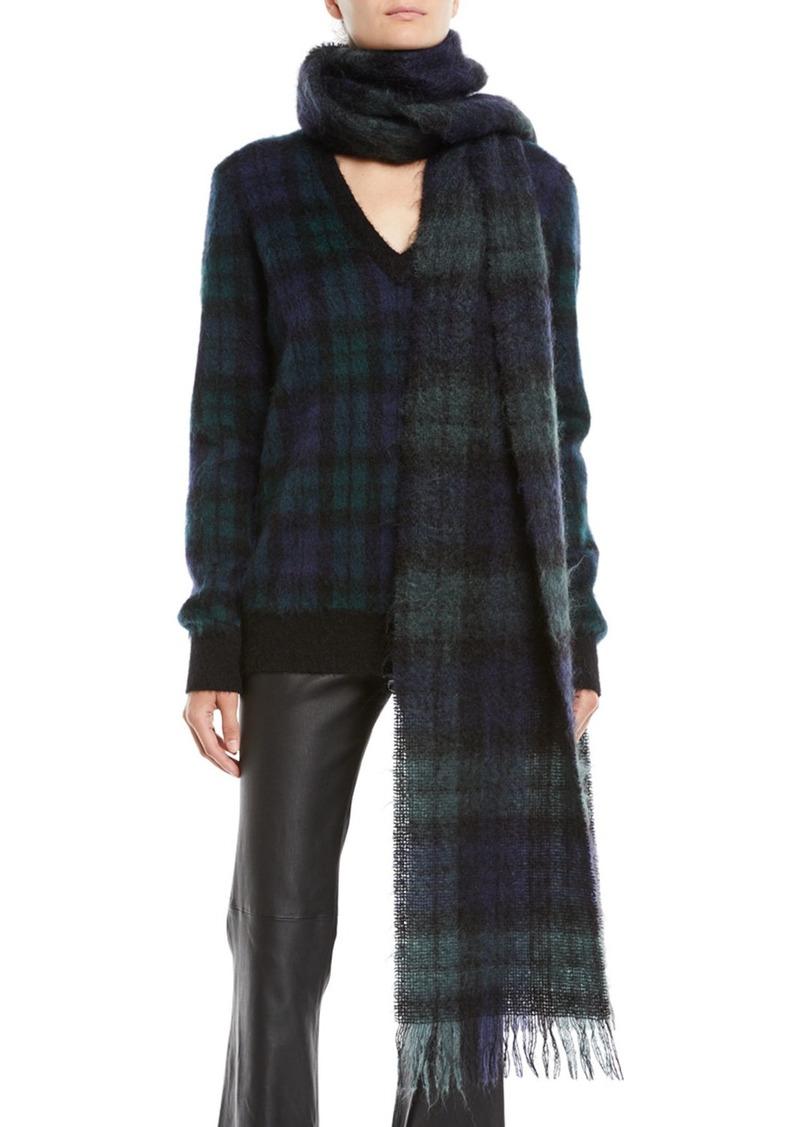 Michael Kors Oversized Tartan Wool Scarf w/ Fringe Edges