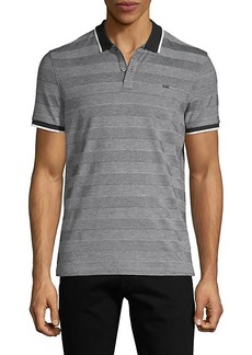 Michael Kors Oxford Striped Cotton-Blend Polo