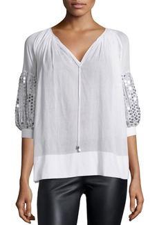 Michael Kors Paillette-Sleeve V-Neck Blouse