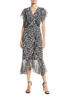 Michael Kors Painterly Floral-Print Ruffled Wrap Dress