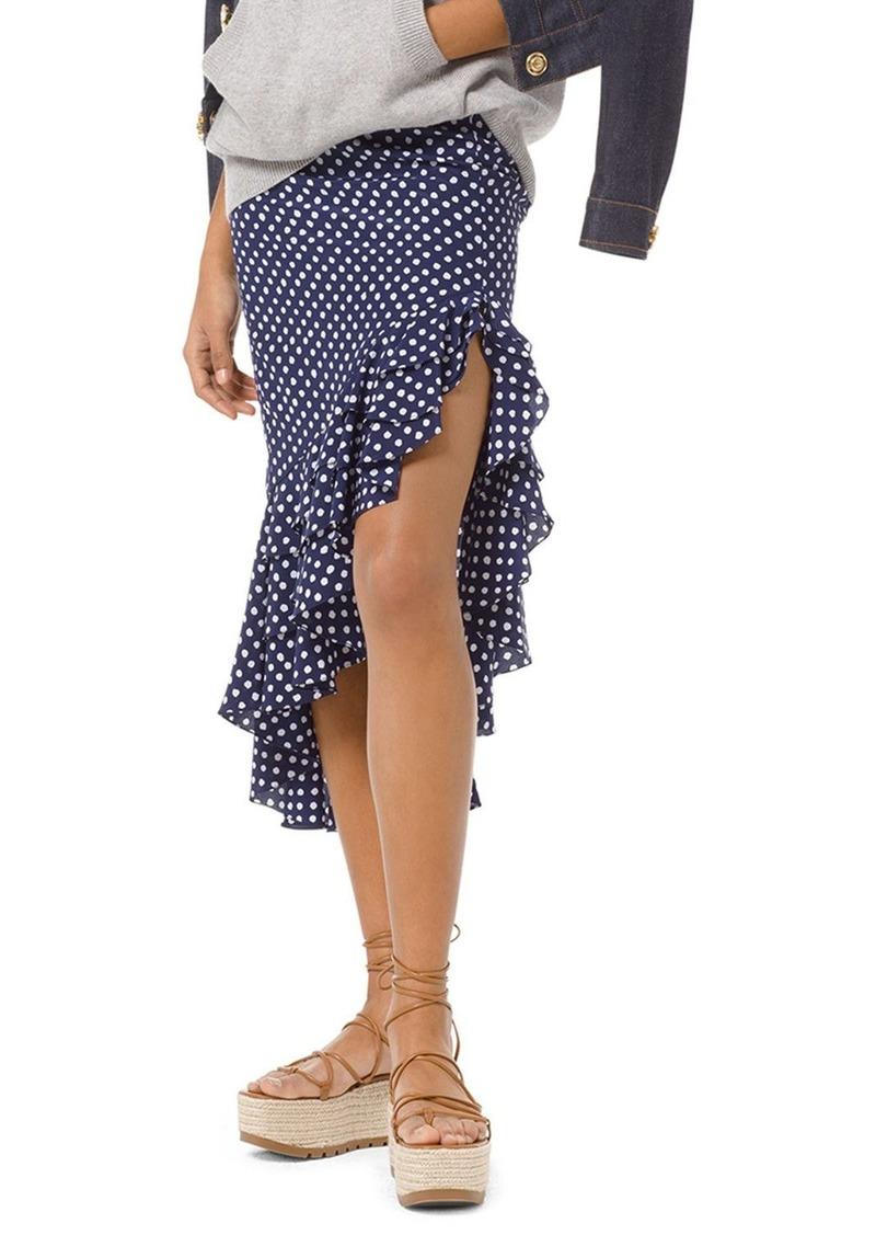 Michael Kors Painterly Polka-Dot Crepe Ruffled Skirt