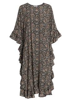 Michael Kors Paisley Ruffle Silk Poncho Dress