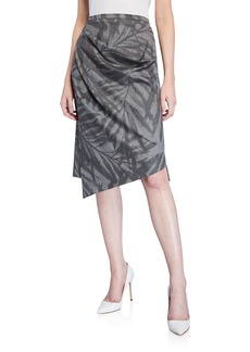 Michael Kors Palm Stretch-Wool Draped Asymmetric Skirt