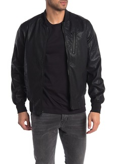 Michael Kors Perforated Faux Leather Bomber Jacket