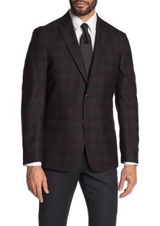 Michael Kors Plaid Burgundy & Charcoal Woven Two Button Notch Lapel Blazer