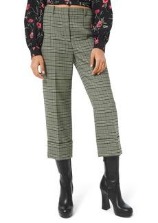 Michael Kors Plaid Stretch-Wool Cropped Pants