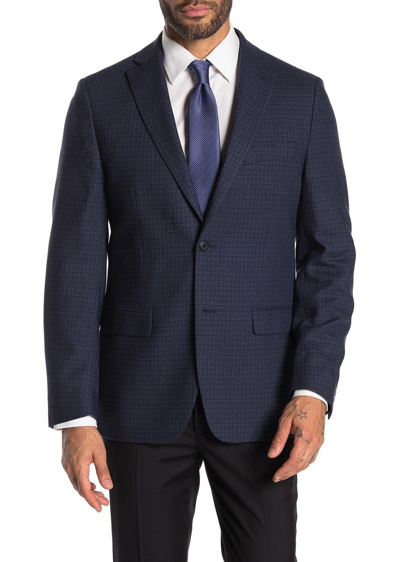 Michael Kors Plaid Two Button Notch Lapel Sport Coat