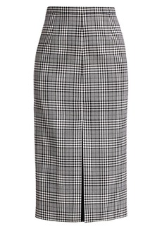 Michael Kors Plaid Virgin Wool Pencil Skirt