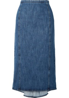 Michael Kors Pleated Denim Midi Skirt