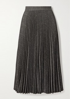 Michael Kors Pleated Houndstooth Wool-blend Midi Skirt
