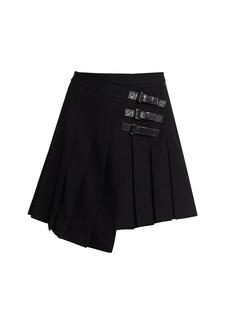 Michael Kors Pleated Kilt Leather-Buckle Wool Skirt