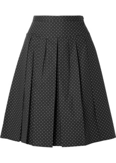 Michael Kors Pleated Polka-dot Stretch-cotton Poplin Skirt